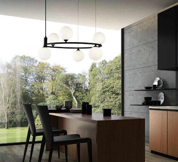 nowoczesny żyrandol do kuchni - oświetlenie wyspy